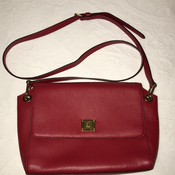 Lauren Ralph Lauren Bags   Red Leather Shoulder Purse   Poshmark 468241f66e